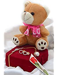 VALENTINE SPECIAL COMBO OF CZ BRACELET, CZ EARRING, TEDDY BEAR WITH KEY CHAIN AND PLASTIC ROSE FLOWER FOR HER - B06VSQY464