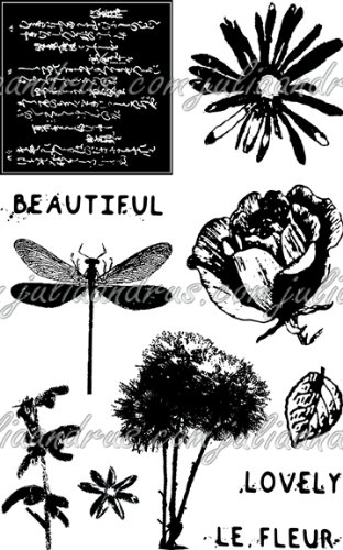 Image of Eco Green Crafts Recycled Rubber Stamps, Petal Party