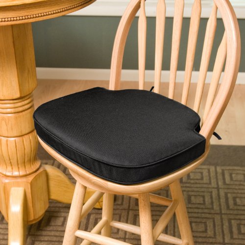 Deauville 17 x 17.25 Windsor Bar Stool Seat Cushion Color - Black