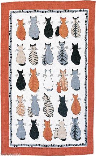 Sitting Cats And Kittens 100% Linen Kitchen Tea Dish Towel 48Cm X 74Cm