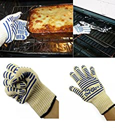 Itinlu 1x Kitchen Microwave Oven Glove Heat Proof Resistant 540 F Cooking Tools for Right Left Hand Protective Universal White & Blue Color