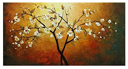 Wieco Art - Grace 100% Hand-painted Modern Canvas Wall Art Floral Oil Paintings on Canvas for Home Decor 20 by 40 inches