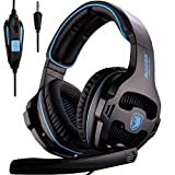 PS4 Gaming Headset, Gaming Headphones for Multi-Platform PS4 / Switch/PC/Laptop/Mac Computer, Rotated Mic/Inline Control/Stereo Bass / SA810 Black Blue (Color: SA810 Black Blue)