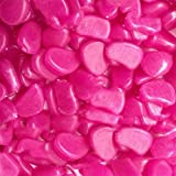 HuntGold 100pcs Pebbles Stones Home Garden Yard Walkway Fish Tank Ornaments Glow in the Dark(hot pink)