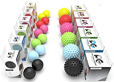 Professional Massage Balls - Lacrosse Ball Set or Spiky Roller - BEST Foot Massager - Acupressure, Deep Tissue Trigger Point, Plantar Fasciitis, Reflexology, Stress Therapy & Myofascial Release - FREE EBook