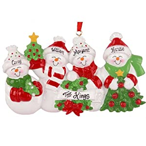 Snowman family of 4 personalized christmas for Family of 4 christmas ornament