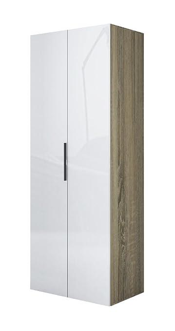Armario de dos puertas de roble y trufas, lacado, color blanco