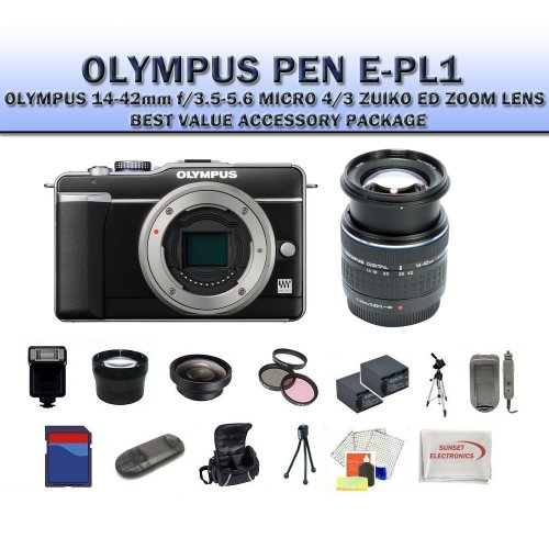 Olympus PEN E-pl1 Digital Camera (includes Manufacturer's Supplied Accessories) with Olympus 14-42mm Micro Four Thirds Lens + SSE Best Value 8GB, Lens, Replacement Batterries, Deluxe Carrying Case & Tripod Complete Accessories Package