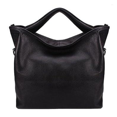 Fineplus Women's 100% Leather Litchi Grain Peculiar Burnish Feeling Shoulder Strap Tote Bag Black