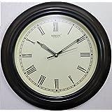 Rikon Quartz Plastic Round Shape Roman Numbers 33 Cm X 33 Cm Fancy Premium Home Decor Wall Clock (Brown Ivory)...