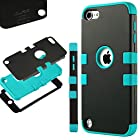 ULAK Hybrid Hard Pattern with Silicon Case Cover for Apple iPod Touch 5 Generation (Black/Blue)