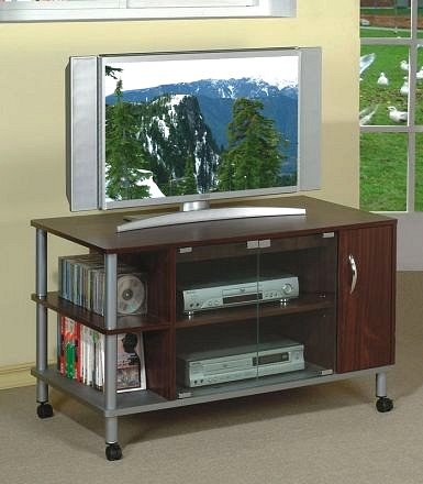 Cheap All new item Brown finish TV stand with brushed steel accents (AMB F4418)