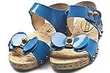 ヒョウチック 子供 サンダル ブルー 16cm バックバンド パステル