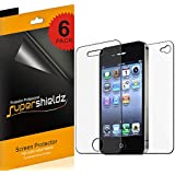 SUPERSHIELDZ- High Definition (HD) Clear Screen Protector Shield For iPhone 4 4S Front + Back + Lifetime Replacements Warranty [3 Front And 3 Back]- Retail Packaging
