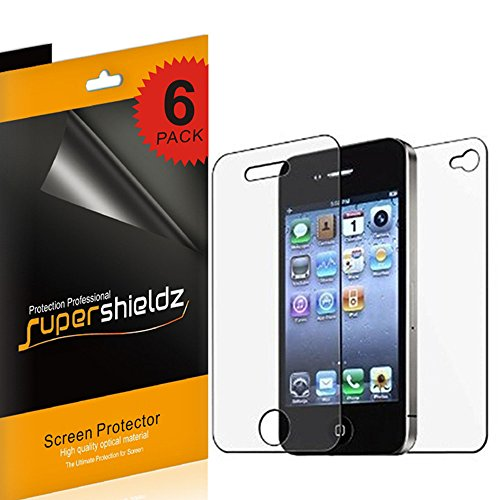 Supershieldz- High Definition (HD) Clear Screen Protector Shield For iPhone 4 4S Front + Back + Lifetime Replacements Warranty [3 Front And 3 Back]- Retail Packaging (Iphone 4 Front And Backs compare prices)