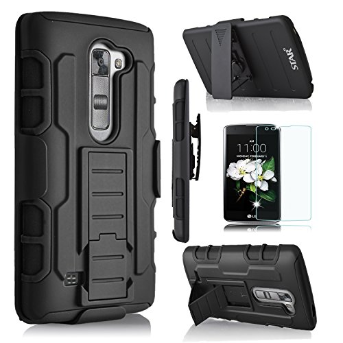 LG K7 Case, Starshop [Heavy Duty] Dual Layers with Kickstand and Locking Belt Clip With Premium Screen Protector Black (Lg Phone Case Cover compare prices)