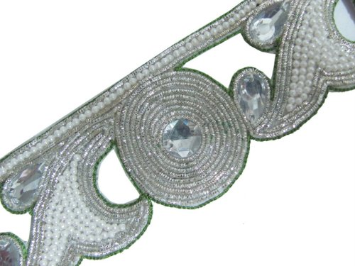 Bridal Cut Work Hand Beaded Stone Bullion Trim 1.4 Yard