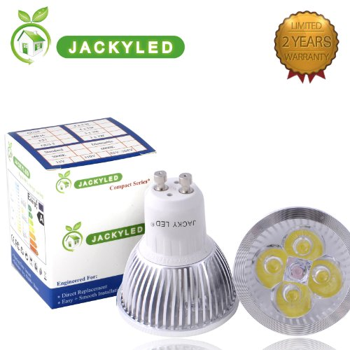Jackyled® 10- Pack 100% Original Super Bright Epistar Chips Led Gu10 4W Led Light Bulb Day White 6000K, Energy Saving, Led Lighting Halogen Spot Light Bulb Replacement Perfect For Replacing 50 - 60 Halogen Bulbs Dimmable Led Light Bulbs