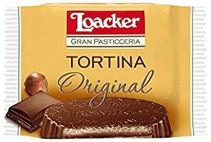 Loacker Tortina Chocolate Covered Wafers Disks filled with Hazelnut Cream 21 g (Pack of 12)