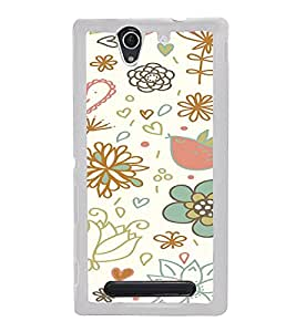 ifasho Animated Pattern colrful design cartoon flower with leaves Back Case Cover for Sony Xperia C4