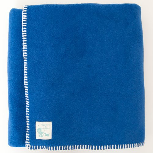 Tuppence and Crumble soft fleece Baby Blanket 100x145cm  Royal Blue with Cream Stitching