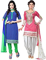 The Fashion World Combo of Pink & Blue Chanderi Embroidery Worked Dress Material