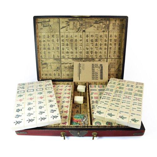 Mahjong establecer grandes baldosas r sticas en caso de madera - Baldosas rusticas ...