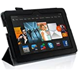 """New Amazon Kindle Fire HDX 7 inch 7"""" 2013 (ALL Model Versions - 16GB, 32GB & 64GB Wi-Fi + 4G LTE) BLACK Multi-Function Leather SMART FOLIO Front & Back Case / Smart Cover / Typing & Viewing Stand / Premium SLIM Flip Case With Magnetic Sleep Sensor & Screen Protector Shield Guard & Amazon Kindle Fire HDX Tablet Black Stylus Pen Accessory Accessories Pack by InventCase®"""