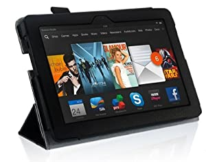 "New Amazon Kindle Fire HDX 7 inch 7"" 2013 (ALL Model Versions - 16GB, 32GB & 64GB Wi-Fi + 4G LTE) BLACK Multi-Function Leather SMART FOLIO Front & Back Case / Smart Cover / Typing & Viewing Stand / Premium SLIM Flip Case With Magnetic Sleep Sensor & Screen Protector Shield Guard & Amazon Kindle Fire HDX Tablet Black Stylus Pen Accessory Accessories Pack by InventCase®"