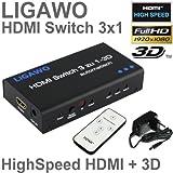 Ligawo ® HDMI Switch 3x1 3D automatisch mit Netzteil (funktioniert auch ohne) - bis zu 3 Geräte an einen Beamer/ Tv