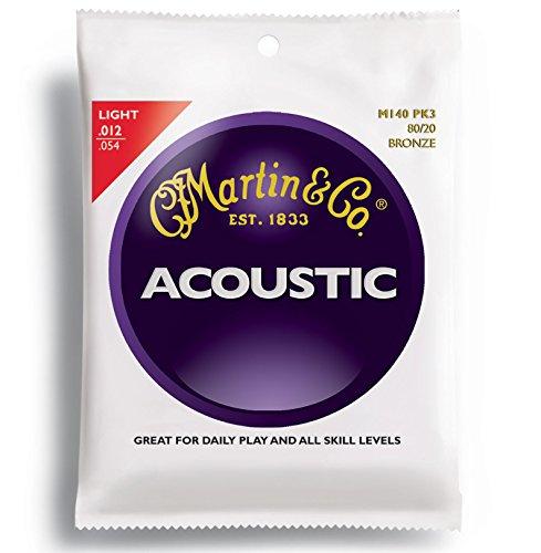 Martin M140 80/20 Acoustic Guitar Strings, Light  3 Pack