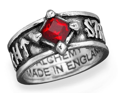 Holyblood Runeband Red Crystal Gothic Ring size 10