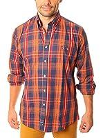 TIME OF BOCHA Camisa Hombre Lino (Naranja / Azul Oscuro)