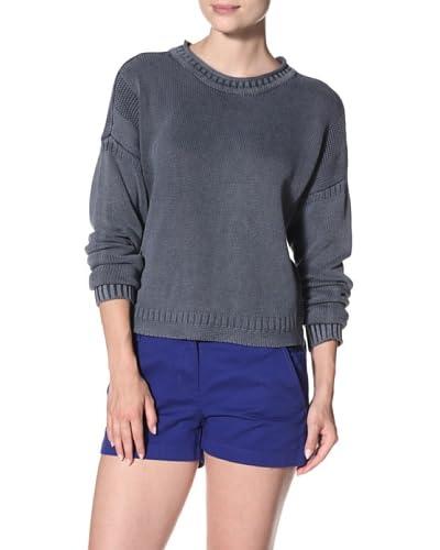 Cotton Addiction Women's Fancy Stitch Funnel Neck Sweater  - Denim