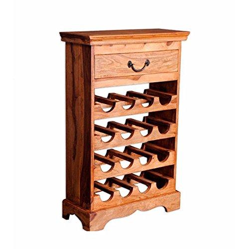 Nikunj Wine Rack With Drawer (Natural Finish, Brown)