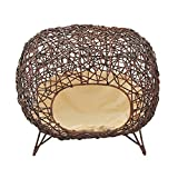 """Pawhut 24"""" Oval Rattan Wicker Elevated Cat Bed - Brown/Light Yellow"""