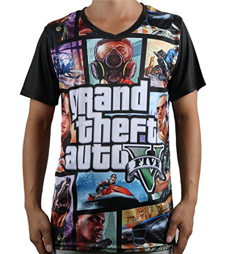 Luckymarch Death Reaper/Grand Theft Auto Game V-neck Mens T Shirts (L, Ted0205 Grand Theft Auto GTA)