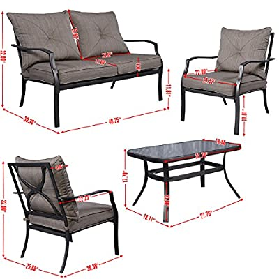 Tangkula 4 PCS Steel Frame Outdoor Patio Lawn Furniture Sets Sofas with Cushions Tea Table