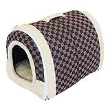ドビンス(Dobeans)犬猫用2wayドーム型ベッドハウスペット用折り畳みハウス室内用 ブラウンL