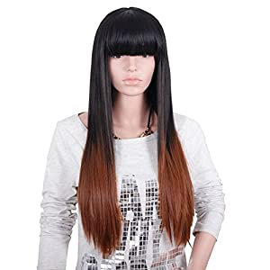 Yulan Women's High Quality Gradient Straight Long Hair Wigs for Natural As Real Hair