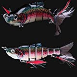 10 Jointed Hard Fishing Lure Swimbait Life-like Artificial Bait & Feather Hook
