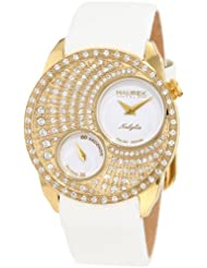 Haurex Italy Women's FY359DW1 Nabylia Swarovski Gold IP White Satin Watch