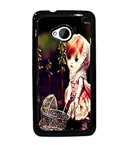 PrintDhaba Cute Doll D-1040 Back Case Cover for HTC ONE M7 (Multi-Coloured)
