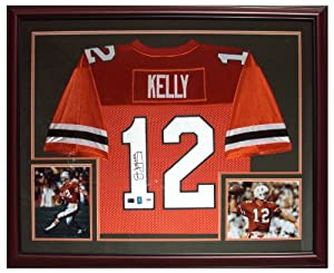 Jim Kelly Autographed Miami Hurricanes (Orange #12) Deluxe Framed Jersey - Kelly Holo by PalmBeachAutographs.com