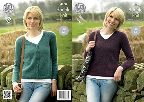 King Cole 42687 Knitting Pattern Leaflet Ladies Raglan Cardigan and Sweater to knit in Panache DK by King Cole