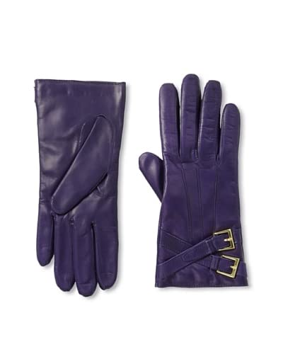 Portolano Women's Buckled Leather Gloves  [Grape]