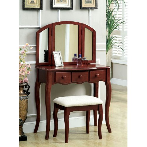 Classic Tri-Fold Vanity With Padded Stool back-560973