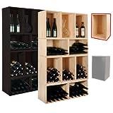 Cantinetta / scaffale per vino / Casse per conservazione, legno massiccio, ampilabile, naturale - a 30 x l 45 x p 30 cm