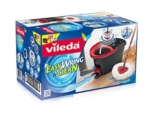 Vileda 133649 EasyWring & Clean Wischsystem - Set bestehend aus einem hochwertigen Microfaser Mop mit Teleskopstiel und Rotationseimer mit Powerschleuder