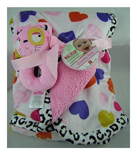 Nuby Cuddly Soft Baby Blanket with Hearts and Toy Rattle - 30 X 40 Inches
